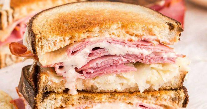 close up shot of Reuben Sandwich
