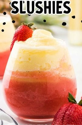 close up shot of wine slushies in a cocktail glass with strawberries