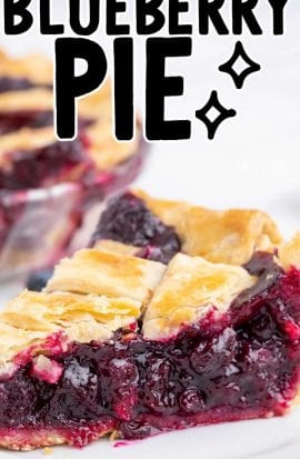 close up shot of a slice of blueberry pie on a plate