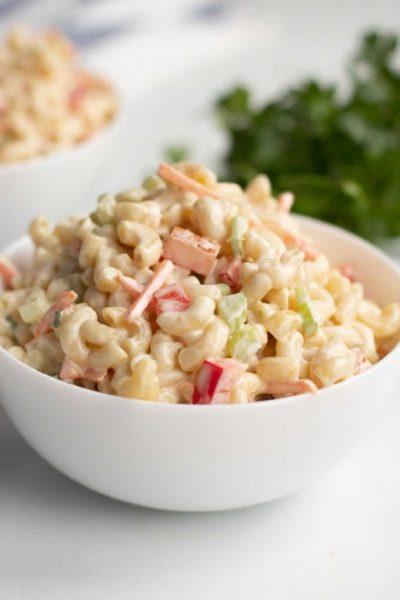 close up shot of Elbow Macaroni Pasta Salad in a bowl