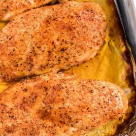 close up shot of Italian chicken in a pan