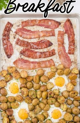 close up overhead shot of sheet pan breakfast garnished with parsley in a sheet pan