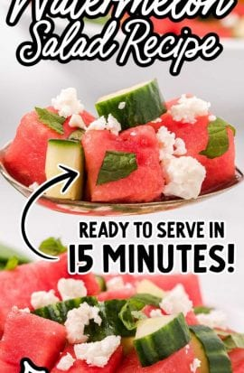 close up shot of watermelon salad topped with mint leaves and feta cheese on a spoon