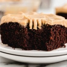 close up shot of chocolate peanut butter crazy cake with a piece taken out of it with a fork on a white plate