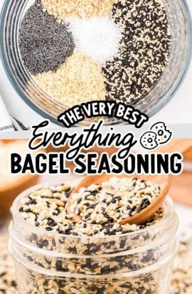 close up shot of everything bagel seasoning in a clear jar with a spoon and overhead shot of seasoning ingredients