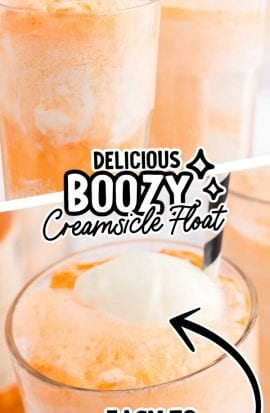 close up shot of a glass of boozy creamsicle float with a straw