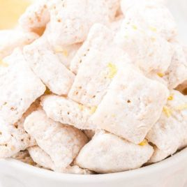 close up shot of lemon puppy chow in a bowl