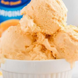 close up shot of a bowl of cheese ice cream