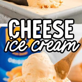 close up shot of cheese ice cream being scooped up with a ice cream scooper and a bowl of cheese ice cream with a wooden spoon