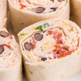 close up shot of chicken tortilla roll-ups