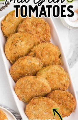 overhead shot of fried green tomatoes in a serving tray