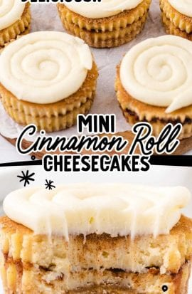 close up shot of mini cinnamon roll cheesecakes with a bite taken out of it