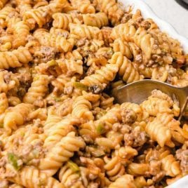 close up shot of amish casserole in a baking dish