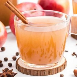 close up shot of a glass of Apple Cider with a cinnamon stick and apples in the background