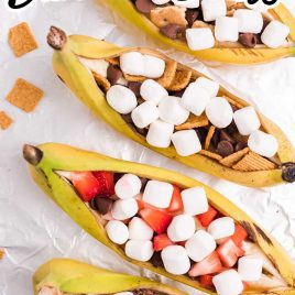 campfire banana boats process shot of boats filled with ingredients