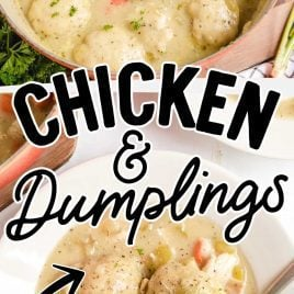 close up shot of a pot of Chicken and Dumplings and close up overhead shot of a serving of Chicken and Dumplings in a bowl