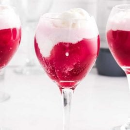 close up shot of glasses of Red Wine Floats with vanilla ice cream on top