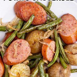 close up shot of a serving of Sausage Green Bean Potato Casserole on a plate