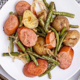 close up overhead shot of a serving of Sausage Green Bean Potato Casserole on a plate