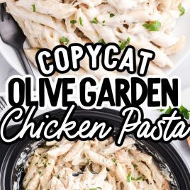 close up shot of Slow Cooker Olive Garden Chicken Pasta topped with parsley in a crockpot and on a plate