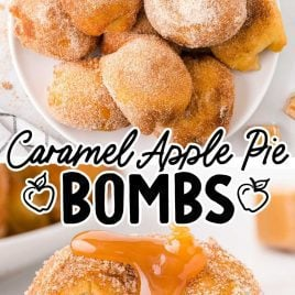 close up overhead shot of caramel apple pie bombs piled on a plate and close up shot of a caramel apple pie bomb with caramel syrup on top