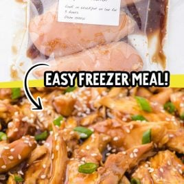 close up shot crockpot chicken teriyaki in a labeled plastic bag and crockpot chicken teriyaki topped with green onions and sesame seeds