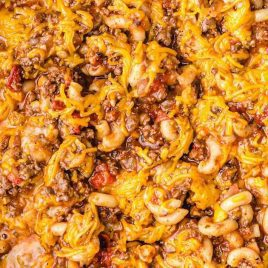 close up overhead shot of American Chop Suey in a skillet