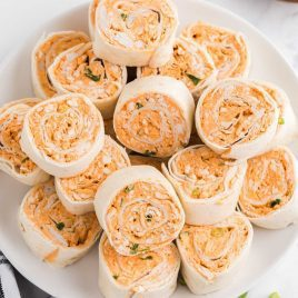 close up overhead shot of Buffalo Chicken Pinwheels on a plate