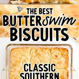 close up shot of butter swim biscuits on a spatula and close up overhead shot of Butter Swim Biscuits in a baking dish