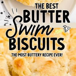 close up overhead shot of butter spread onto Butter Swim Biscuits on a plate and close up shot of Butter Swim Biscuits
