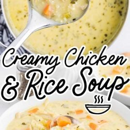 close up overhead shot of Creamy Chicken and Rice Soup in a pot and on a large soup spoon and a serving of Creamy Chicken and Rice Soup in a bowl