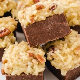 close up shot of German chocolate fudge topped with frosting