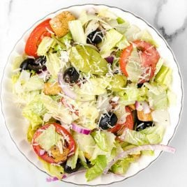 close up overhead shot of a bowl of Olive Garden Salad Recipe