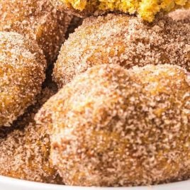 close up shot of a bowl of pumpkin donut holes coated with sugar