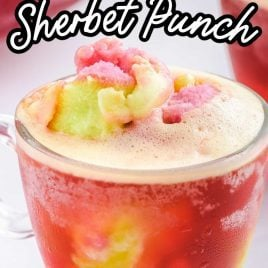 close up shot of a glass of Rainbow Sherbet Punch topped with a scoop of rainbow sherbet ice cream