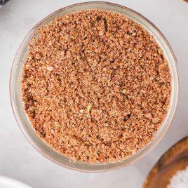 close up overhead shot of a jar full of Taco Seasoning