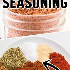 close up shot of taco seasoning in a mason jar and overhead shot of Taco Seasoning on a plate