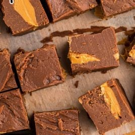 close up shot of chocolate peanut butter fudge
