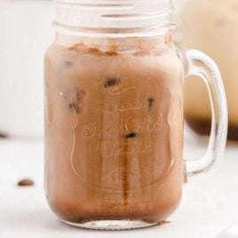 close up shot of a glass of iced mocha