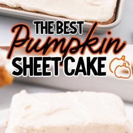 pumpkin sheet cake with icing in a baking dish and a slice on a plate