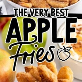 close up shot of a plate of Apple Fries with a bowl of dipping sauce and close up shot of Apple Fries in a container