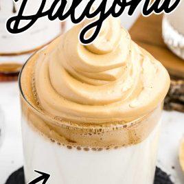 close up shot of a cup of Drunken Dalgona
