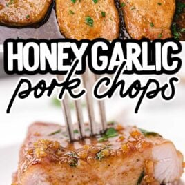 close up shot of a pot of Honey Garlic Pork Chops garnished with parsley and close up shot of Honey Garlic Pork Chops garnished with parsley and stacked on top of each other
