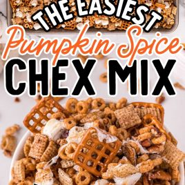 close up overhead shot of Pumpkin Spice Chex Mix on a baking sheet and close up shot of a bowl of Pumpkin Spice Chex Mix
