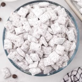 close up overhead shot of a bowl of Puppy Chow recipe