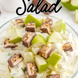 close up shot of a bowl of Snickers Salad