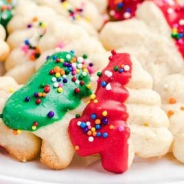 close up shot of a plate of spritz cookies